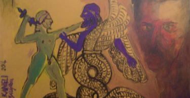 """Слика """"Грешни Никола Тесла – кајање""""(120х80 см), уље на платну, 2015 (Драган Раденовић)."""