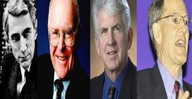 Klod Šenon (Vikipedija), Gordon Mur (Intel), Robert Metkalf (Univerzitet Teksas) i Džordž Gilder (Vikipedija)