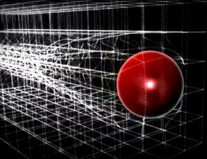 Илустрација интеракције масивне честице са Хигсовим пољем