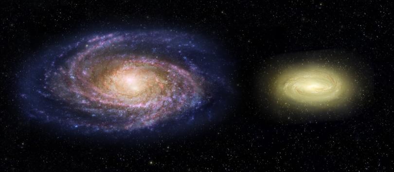 Mlečni put (levo) i mrtva galaksija (NASA)