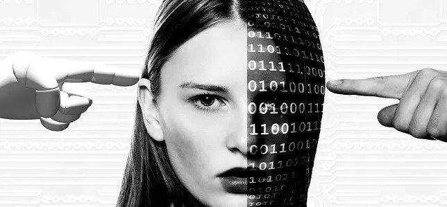Half digital woman